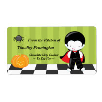 Cute custom Halloween vampire cooking baking label Shipping Label