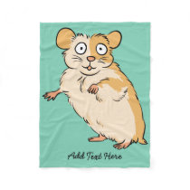 Cute Custom Hamster Graphic Fleece Blanket
