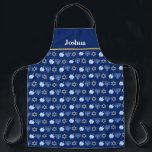 """Cute Custom Hanukkah Blue Apron<br><div class=""""desc"""">Beautiful Hanukkah apron in pretty blue with a cool pattern of Judaism star,  dreidel for fun Chanukah games,  and the Jewish menorah for the holiday.</div>"""