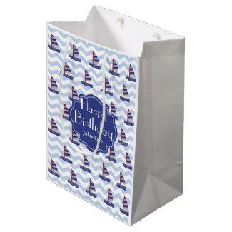 Cute Custom Happy Birthday Sail Boat Gift Bag Medium Gift Bag
