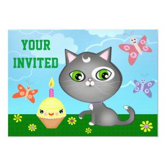 Cute Custom Kitty Kid's Birthday Party Invitation