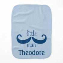 Cute Custom Little Man Mustache Personalized Blue Burp Cloth
