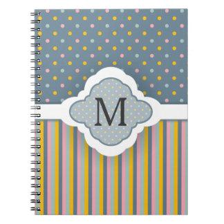 Cute Custom Monogram Polka Dot Stripes Pattern Spiral Notebooks