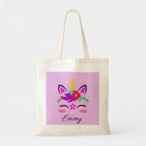 Cute Custom Name & Color Little Blushing Unicorn Tote Bag