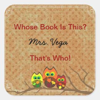 Cute Custom Owl Teacher s Book Plate Book I D - Square Sticker