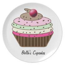 Cute custom personalized cupcake melamine plate