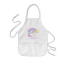 Cute Custom Personalized Magical Rainbow Unicorn Kids' Apron
