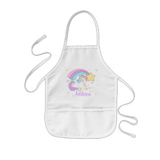 Cute Custom Personalized Magical Rainbow Unicorn Kids' Apron