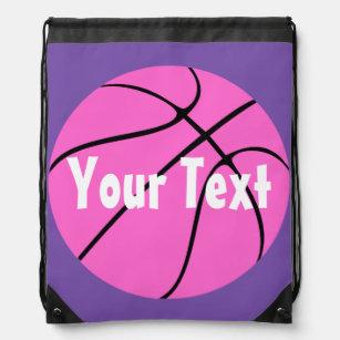 Cute Custom Pink Basketball Drawstring Backpack d0460846855e3