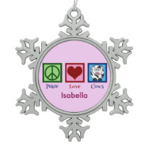 Cute Custom Pink Cow Snowflake Pewter Christmas Ornament