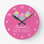 Cute custom pink cupcake kitchen wall clock