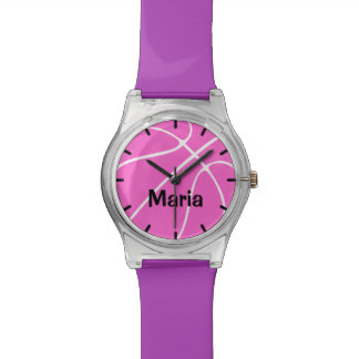 Cute Custom Pink Girl's Basketball Watch