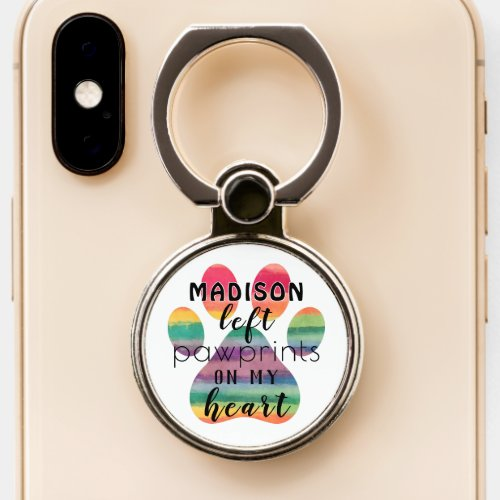 Cute Custom Rainbow Bridge Paw Prints On My Heart Phone Case