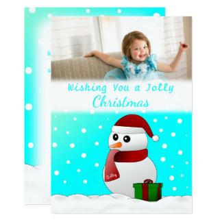 Cute Custom Santa Snowman Christmas Photo Card