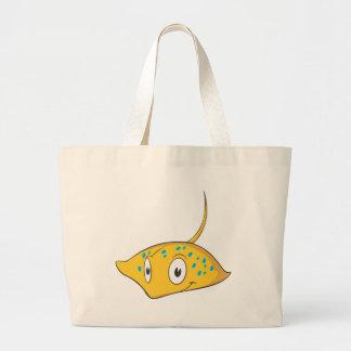Cute Custom Stingray Cartoon Shirt Large Tote Bag