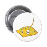 Cute Custom Stingray Cartoon Shirt Pinback Button