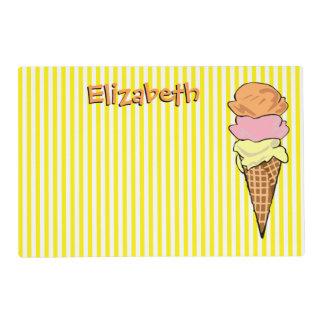 Cute Custom Striped Ice Cream Cone Placemat