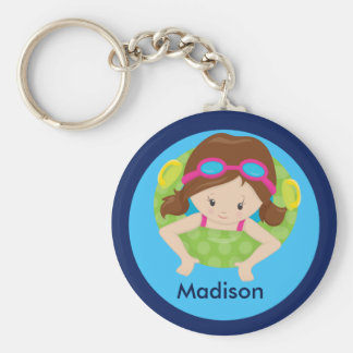 Cute Custom Swim Girl Keychain