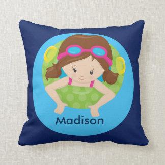 Cute Custom Swim Girl Throw Pillow
