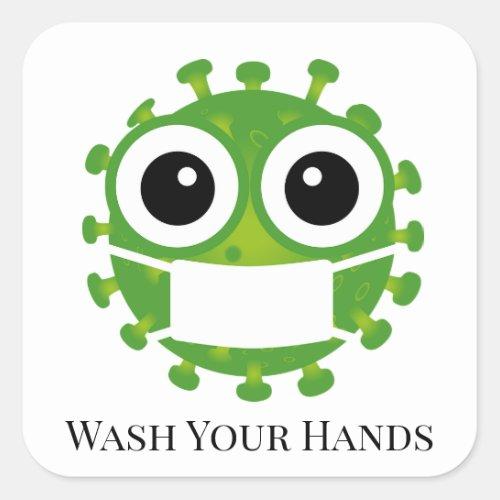 Cute Custom Text Green Virus Germ Emoji Wash Hands Square Sticker