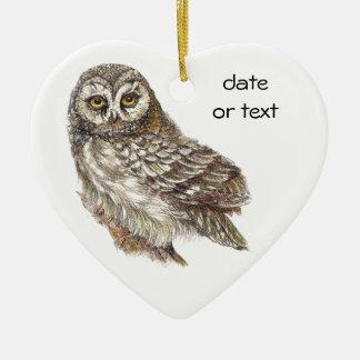Cute Custom Watercolor Owl, Bird, Garden, Nature Ceramic Ornament