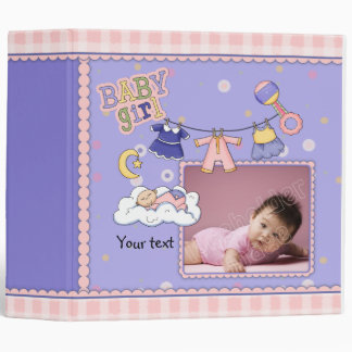 Cute customizable Baby Girl design 3 Ring Binder