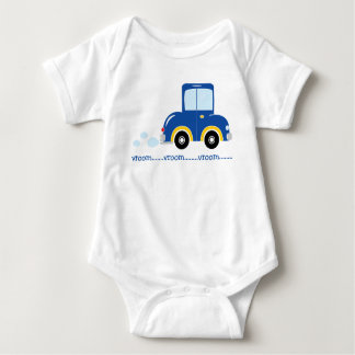 Cute Customizable Blue and Yellow Car Baby Bodysuit