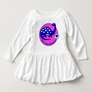 Cute Customizable Bright Pink Dinosaur for Girls Dress