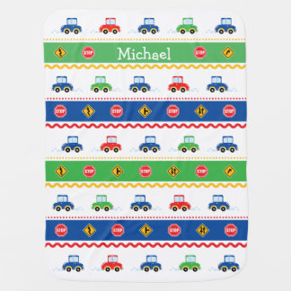Cute Customizable Colorful Cartoon Cars Receiving Blanket