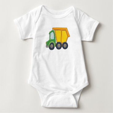 Beach Themed Cute Customizable Dump Truck Baby Bodysuit