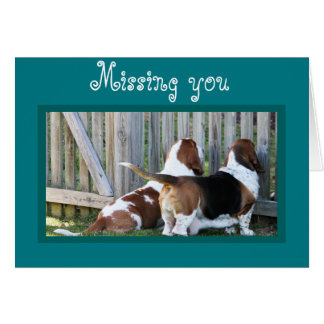 "Cute Customizable ""Missing You"" Card w/Bassets"