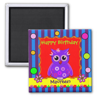 Cute customizable Owl Birthday Magnet with Text