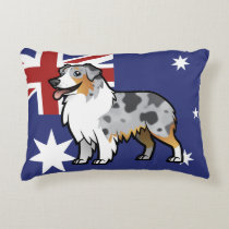 Cute Customizable Pet on Country Flag Accent Pillow