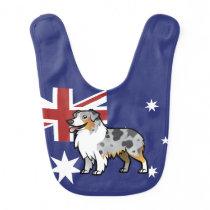Cute Customizable Pet on Country Flag Baby Bib