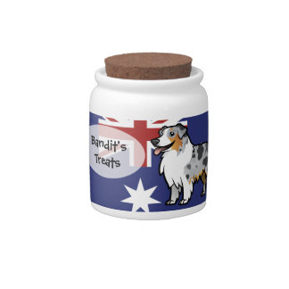 Cute Customizable Pet on Country Flag Candy Jar