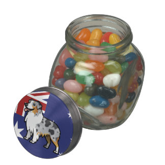 Cute Customizable Pet on Country Flag Glass Candy Jars