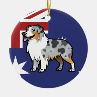 Cute Customizable Pet on Country Flag Ceramic Ornament
