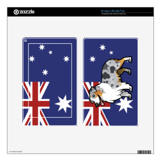 Cute Customizable Pet on Country Flag Decals For Kindle Fire