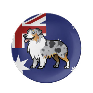 Cute Customizable Pet on Country Flag Dinner Plate