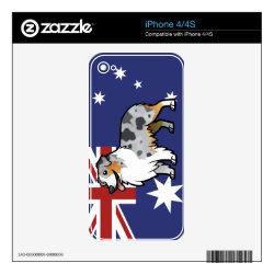 iPhone 4/4S Skin with Australian Shepherd Phone Cases design