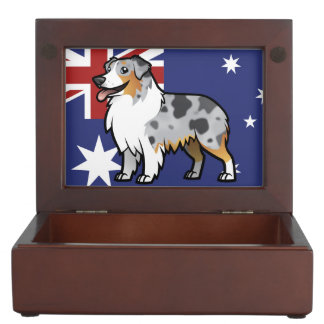 Cute Customizable Pet on Country Flag Keepsake Box