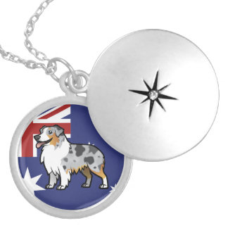 Cute Customizable Pet on Country Flag Locket Necklace