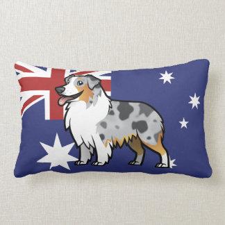 Cute Customizable Pet on Country Flag Lumbar Pillow