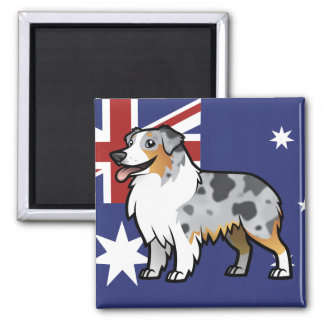 Cute Customizable Pet on Country Flag 2 Inch Square Magnet