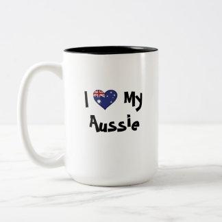 Cute Customizable Pet on Country Flag Two-Tone Coffee Mug