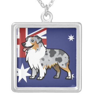 Cute Customizable Pet on Country Flag Custom Necklace