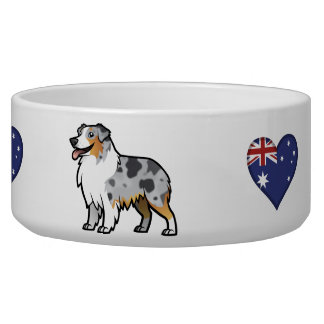 Cute Customizable Pet on Country Flag Dog Water Bowls