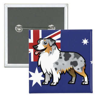 Cute Customizable Pet on Country Flag Pinback Button
