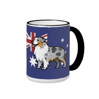 Cute Customizable Pet on Country Flag Ringer Mug