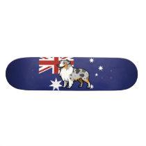 Cute Customizable Pet on Country Flag Skateboard